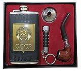 Juego de petaca , con escudo de la URSS, 180 ml, de acero inoxidable, con embudo, pipa y lámpara...