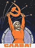 World of Art - Póster con propaganda del servicio espacial de la URSS, diseño de aprox. 1959 'Long...